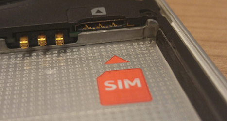 SIM card slot on the back of the battery