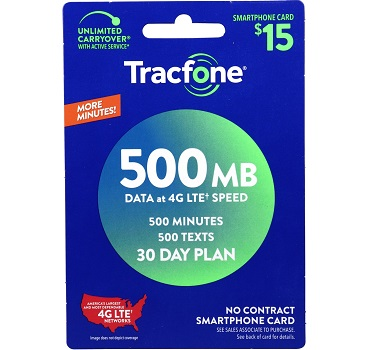 Tracfone 30 Days Smartphone Plan - 500MB Data at Family Dollar