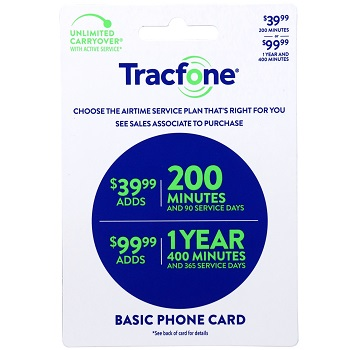 Tracfone 400 minute 1yr 99.99