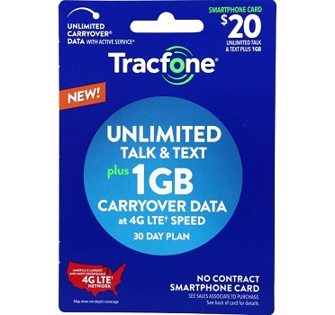 Tracfone No-Contract Plan - 1GB Data Plus Unlimited Talk and Text
