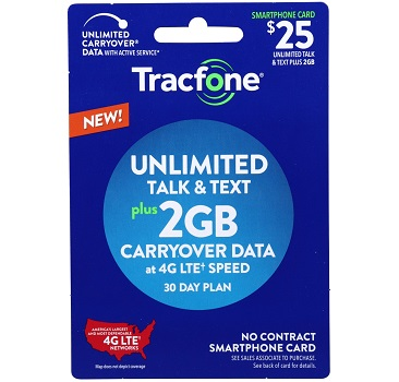 Tracfone No-Contract Plan - 2GB Data Plus Unlimited Talk and Text