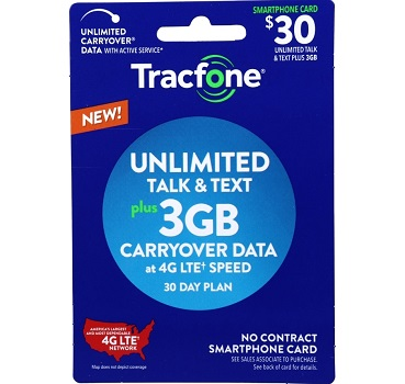 Tracfone No-Contract Plan - 3GB Data Plus Unlimited Talk and Text