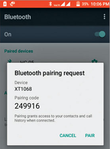 Bluetooth pairing on the phone - Share Mobile Data Without Hotspot