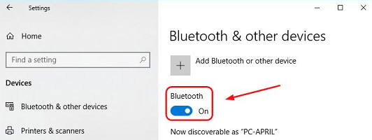 On/Off button for Bluetooth (windows 10 PC)